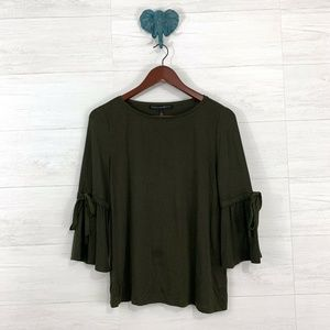 WHBM Olive Green Tie Bell Slv Knit Top